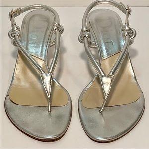 Dior silver rope thong kitten heel sandals
